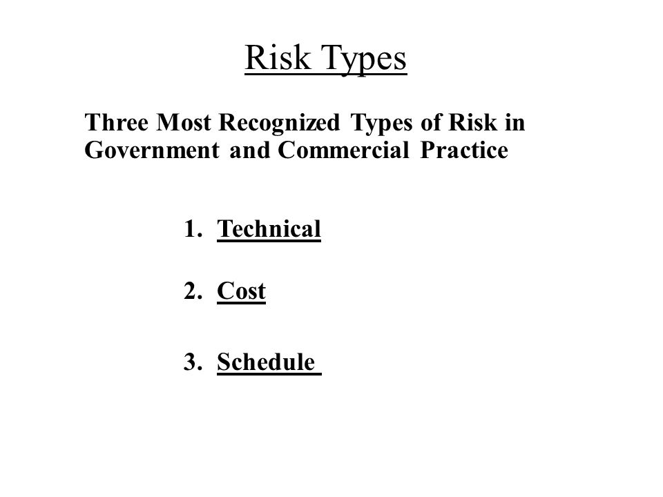 Risk Types Technical Cost Schedule