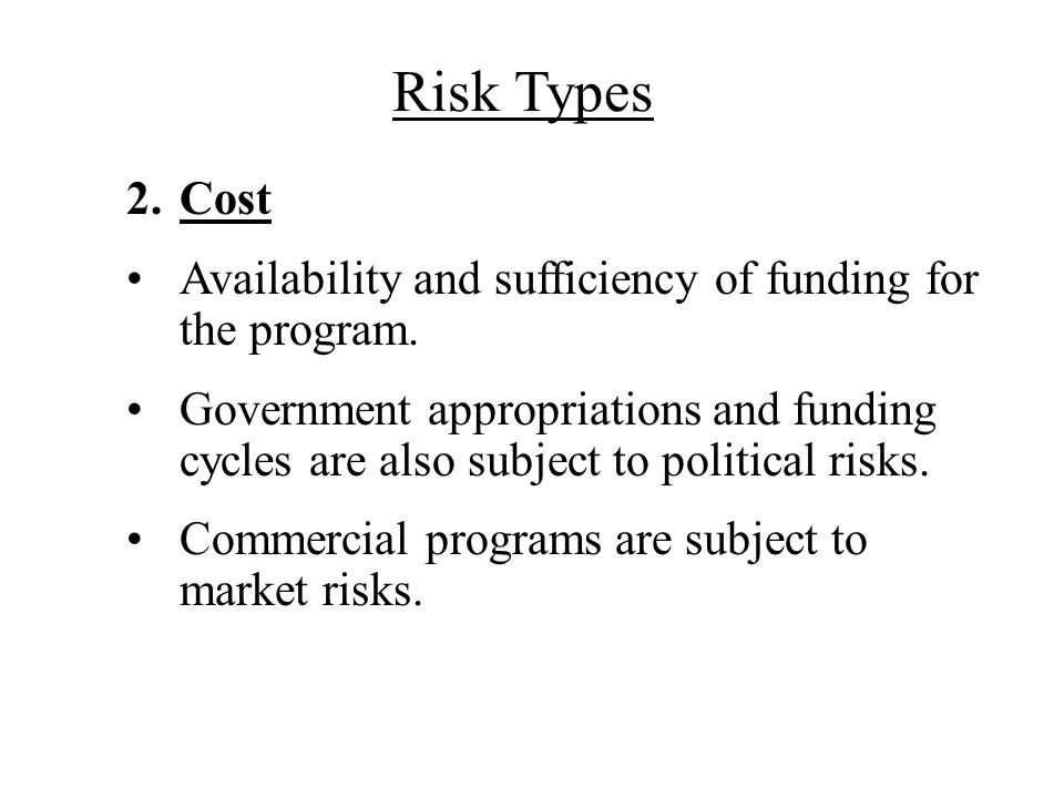 Risk Types Cost. Availability and sufficiency of funding for the program.