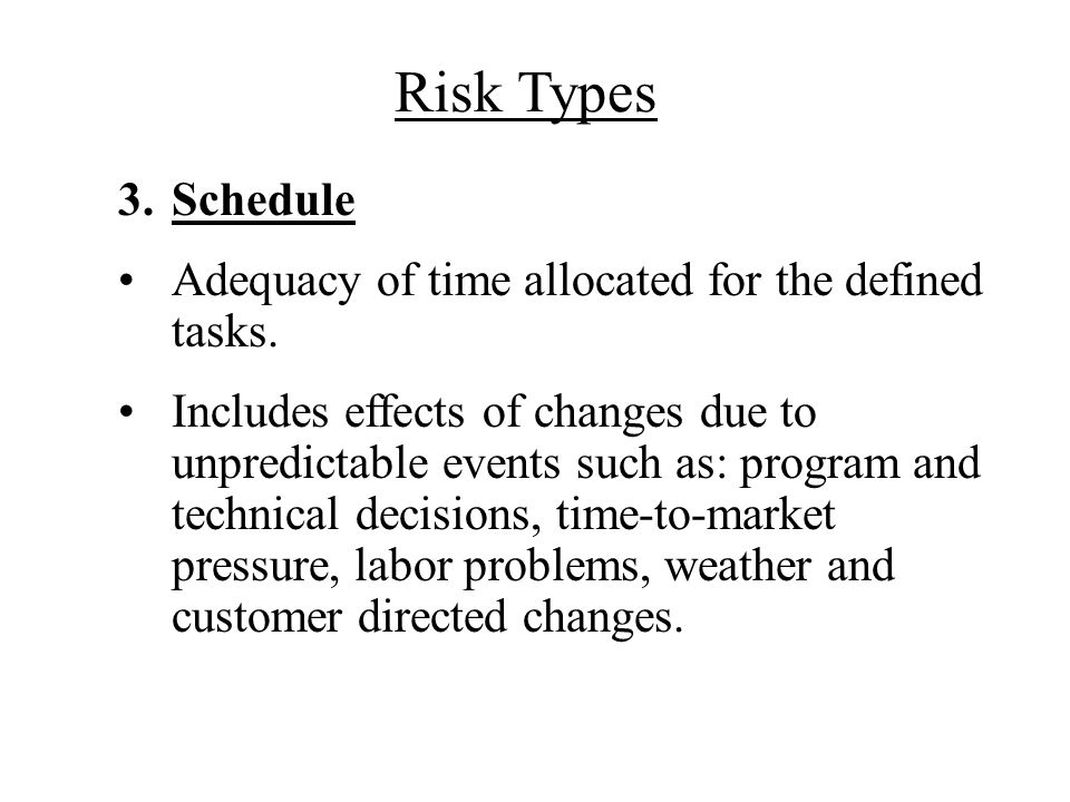 Risk Types Schedule Adequacy of time allocated for the defined tasks.