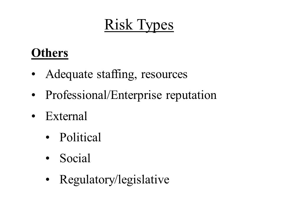Risk Types Others Adequate staffing, resources