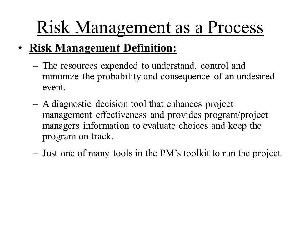 Risk Management as a Process