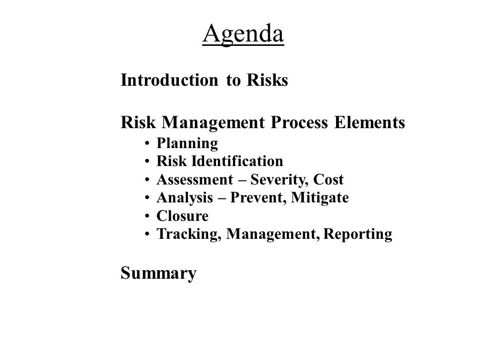 Agenda Risk Management Process Elements Introduction to Risks Planning