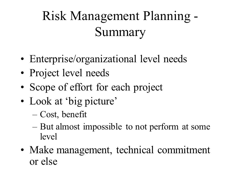 Risk Management Planning - Summary