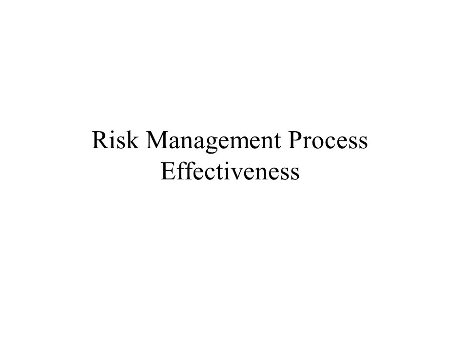 Risk Management Process Effectiveness