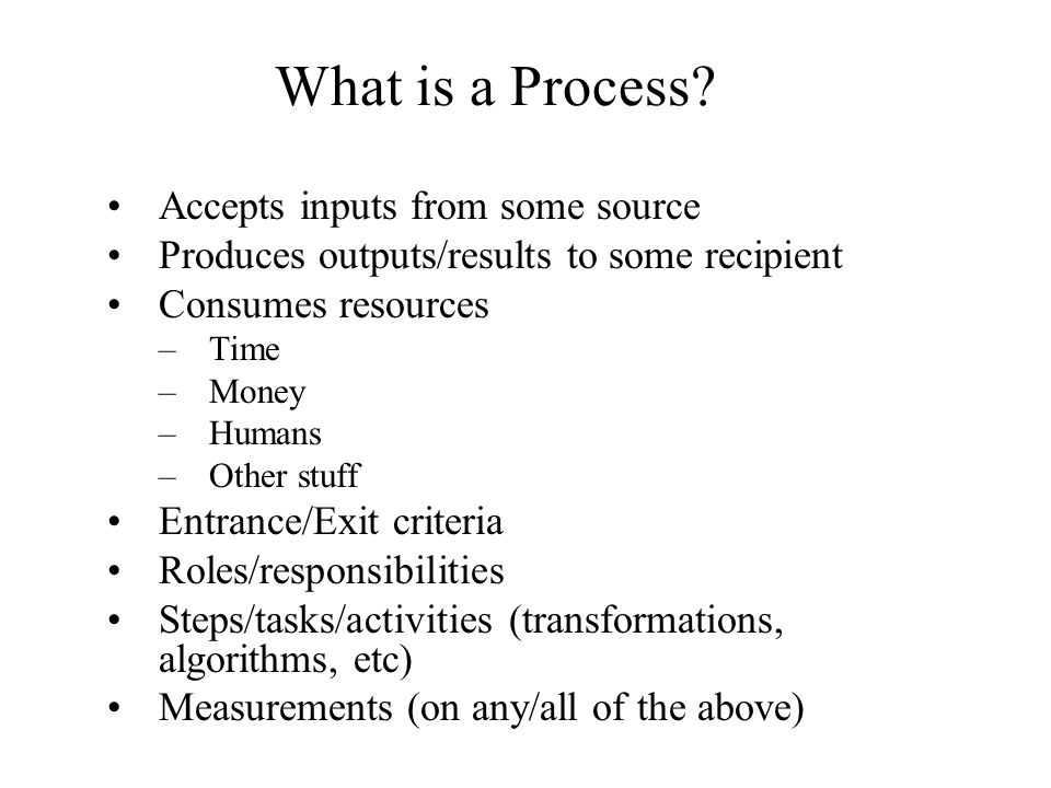 What is a Process Accepts inputs from some source