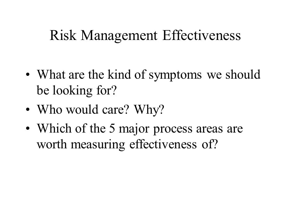Risk Management Effectiveness