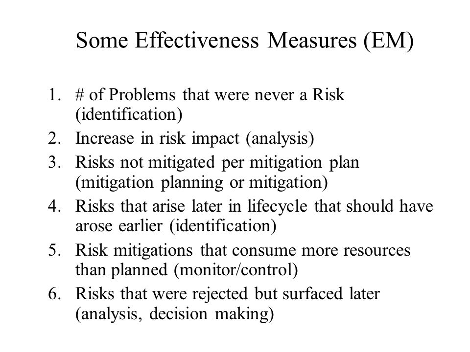 Some Effectiveness Measures (EM)