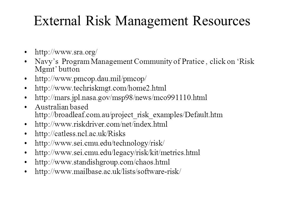External Risk Management Resources
