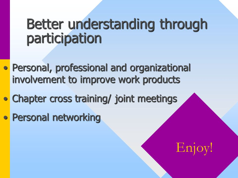 Better understanding through participation