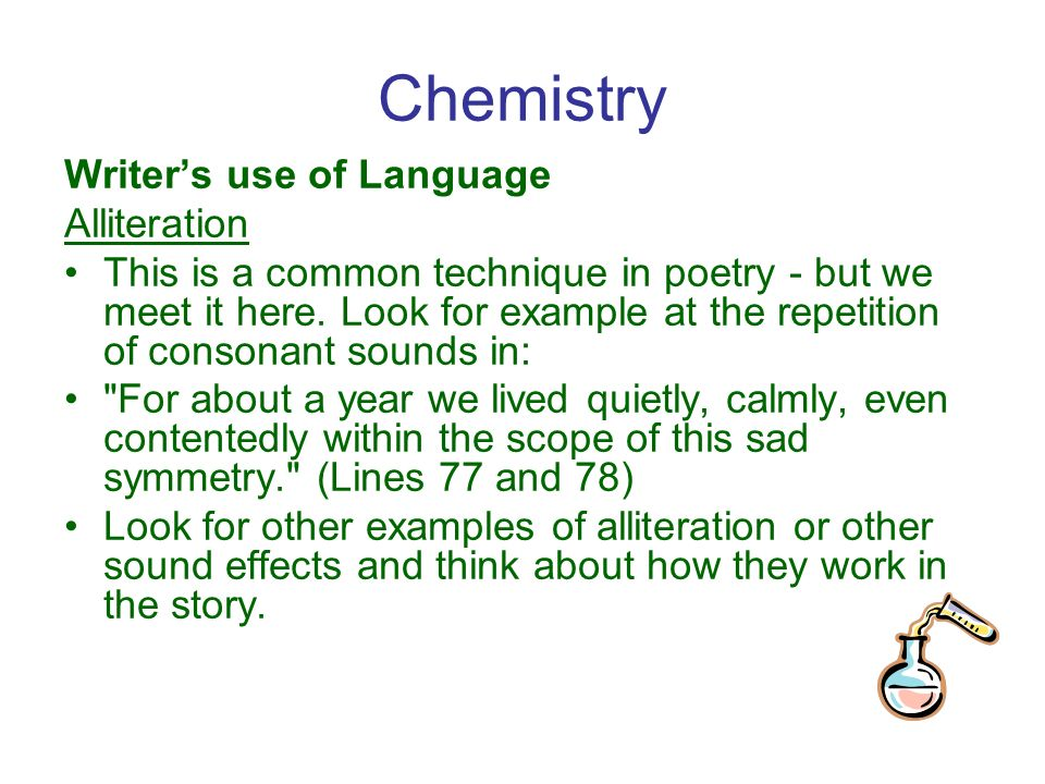 chemistry by graham swift essay • aimed at students who need a quick revision text with some quotes from the original story • activities to consolidate learning- picture and sentence matching exercise an activity looking at the theme of relationships to explain the context this is suitable for: • the whole class • eal students (early stage, advanced stage) • late arrivals needing to catch up.