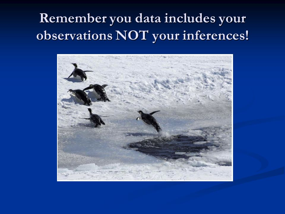 Remember you data includes your observations NOT your inferences!