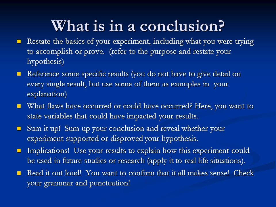 What is in a conclusion
