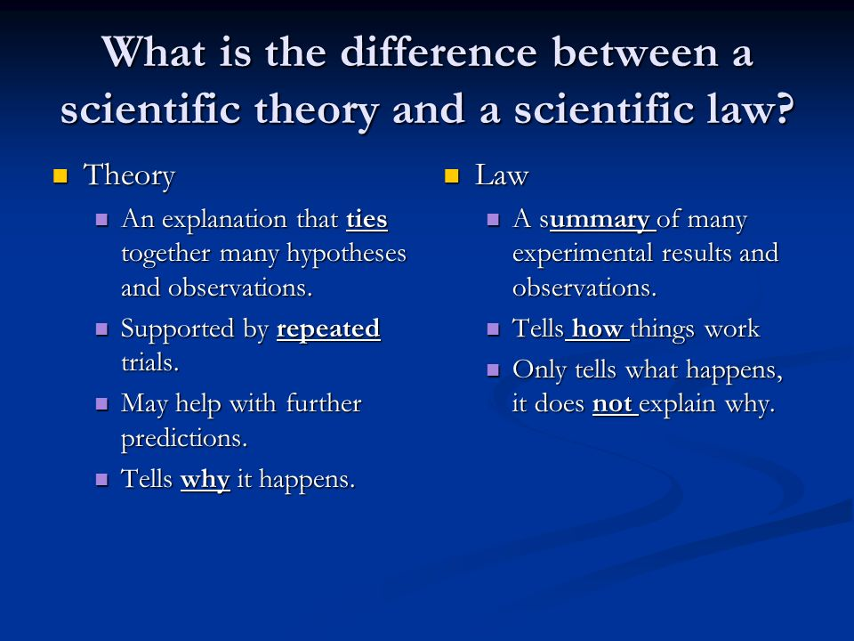 What is the difference between a scientific theory and a scientific law