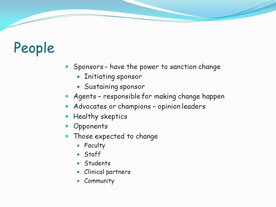 People Sponsors – have the power to sanction change Initiating sponsor