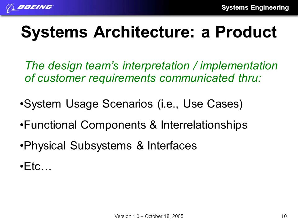 Systems Architecture: a Product