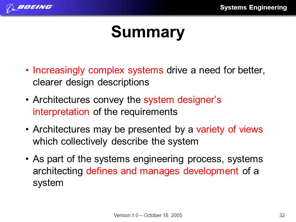 Summary Increasingly complex systems drive a need for better, clearer design descriptions.