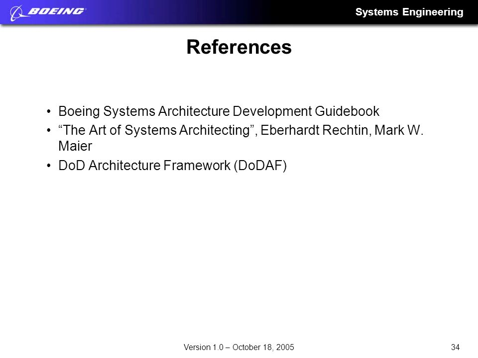 References Boeing Systems Architecture Development Guidebook