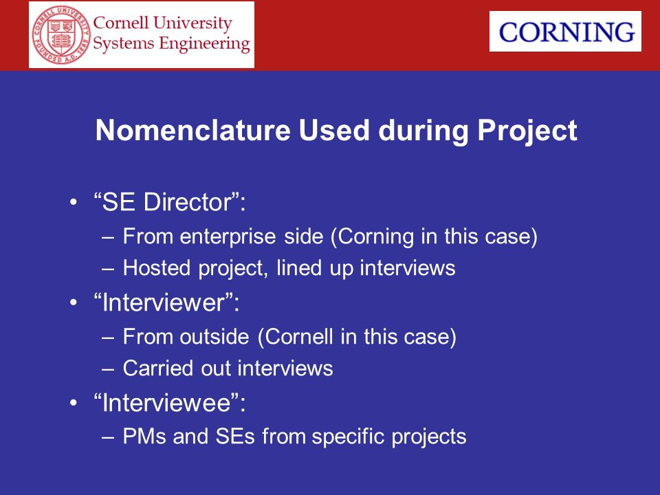 Nomenclature Used during Project