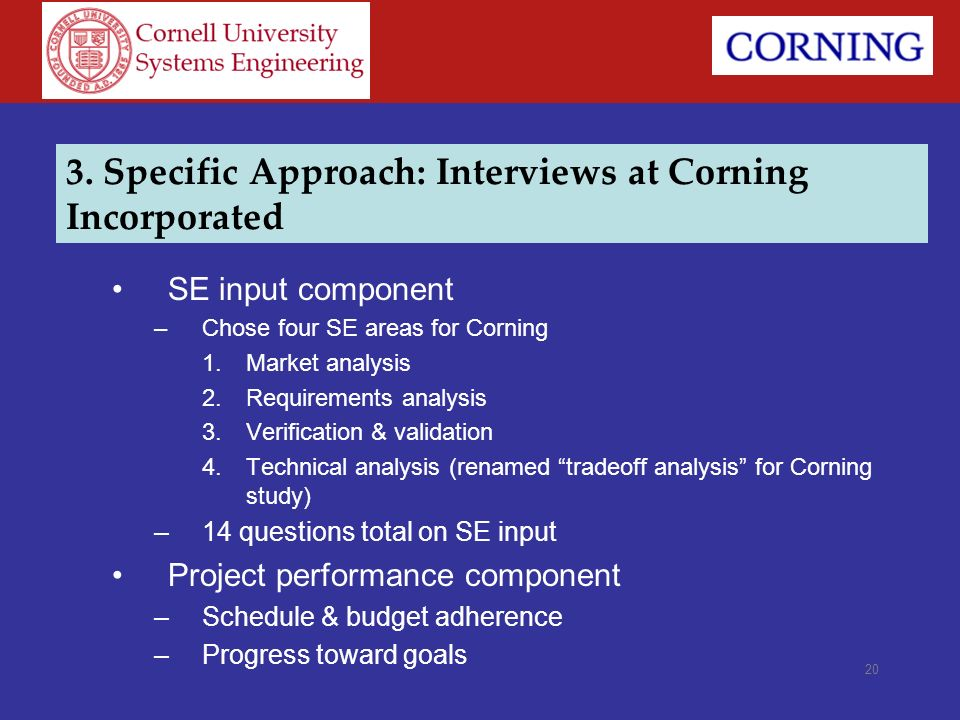 3. Specific Approach: Interviews at Corning Incorporated