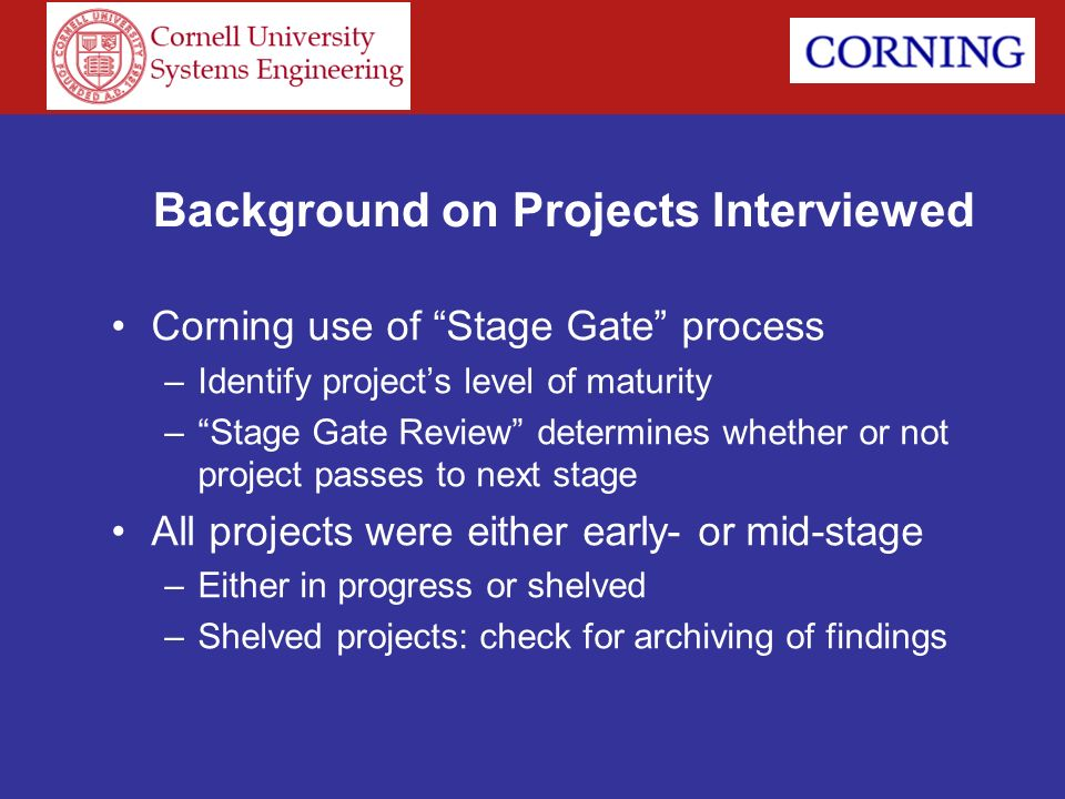Background on Projects Interviewed