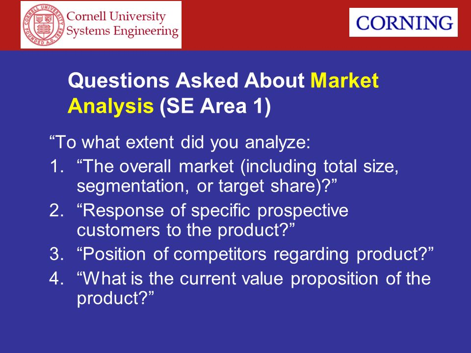 Questions Asked About Market Analysis (SE Area 1)