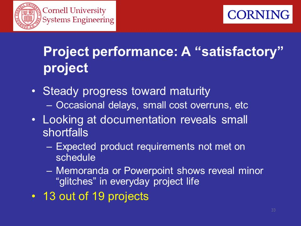Project performance: A satisfactory project