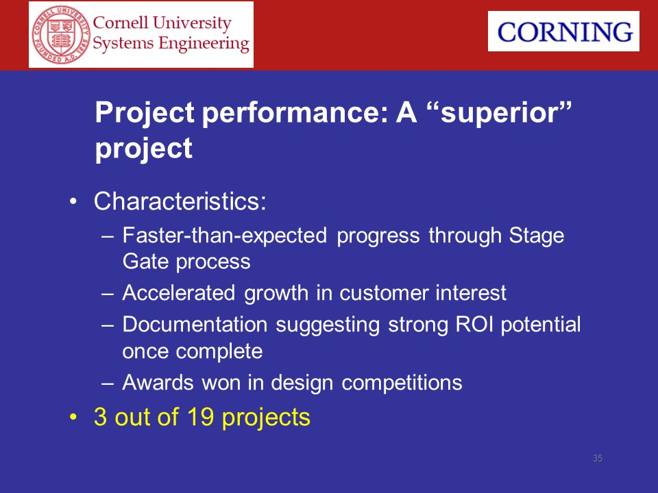 Project performance: A superior project