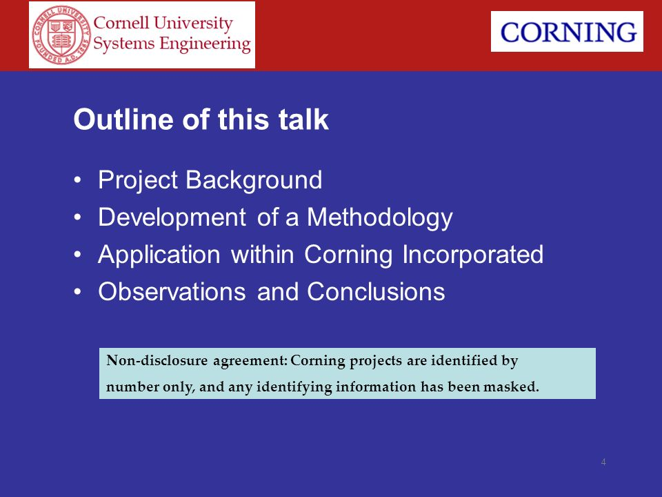 Outline of this talk Project Background Development of a Methodology