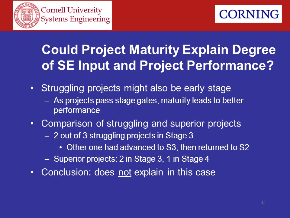 Could Project Maturity Explain Degree of SE Input and Project Performance