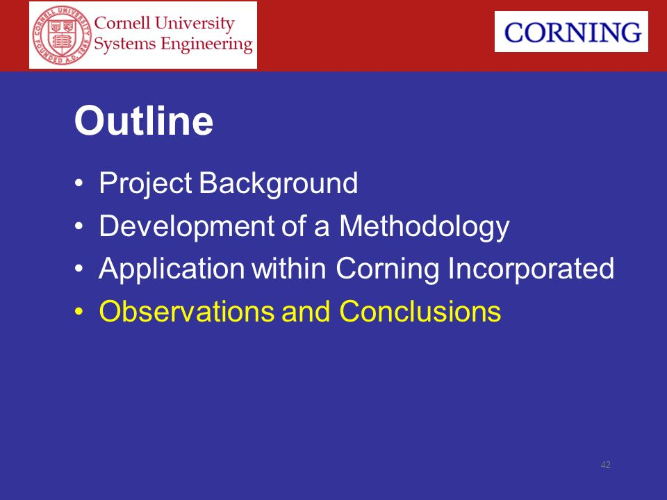 Outline Project Background Development of a Methodology
