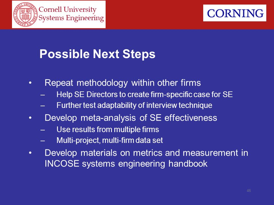Possible Next Steps Repeat methodology within other firms