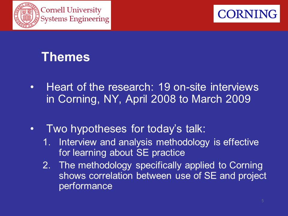 Themes Heart of the research: 19 on-site interviews in Corning, NY, April 2008 to March 2009. Two hypotheses for today's talk: