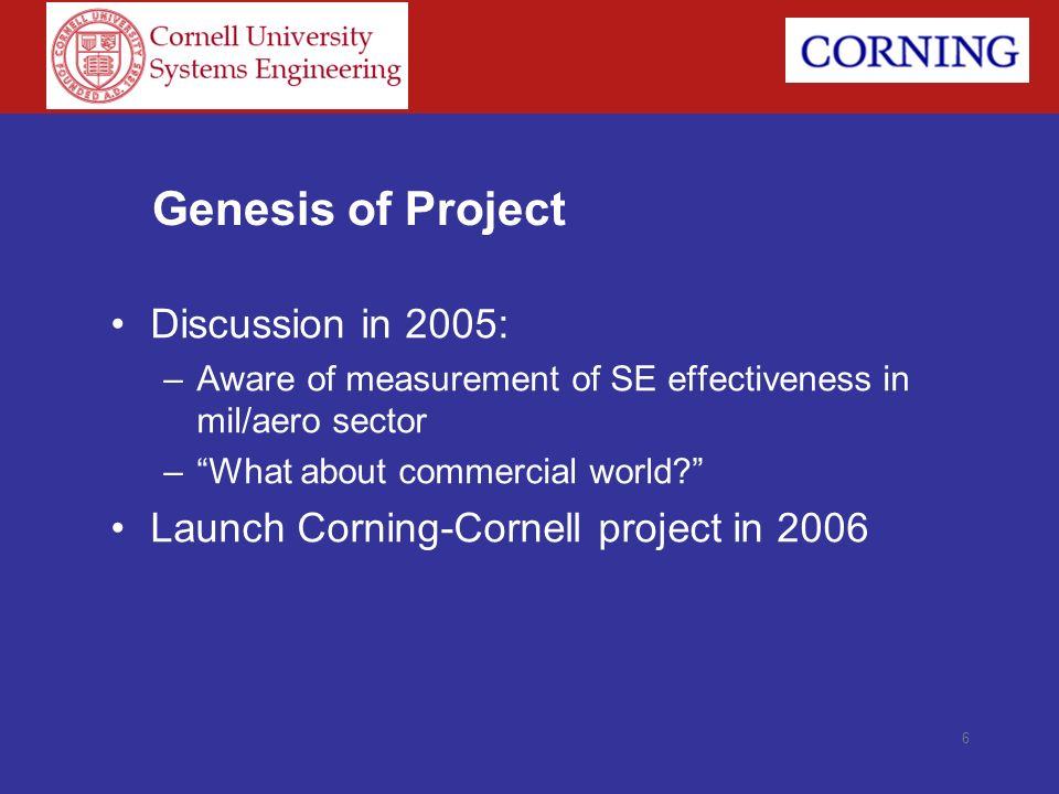 Genesis of Project Discussion in 2005: