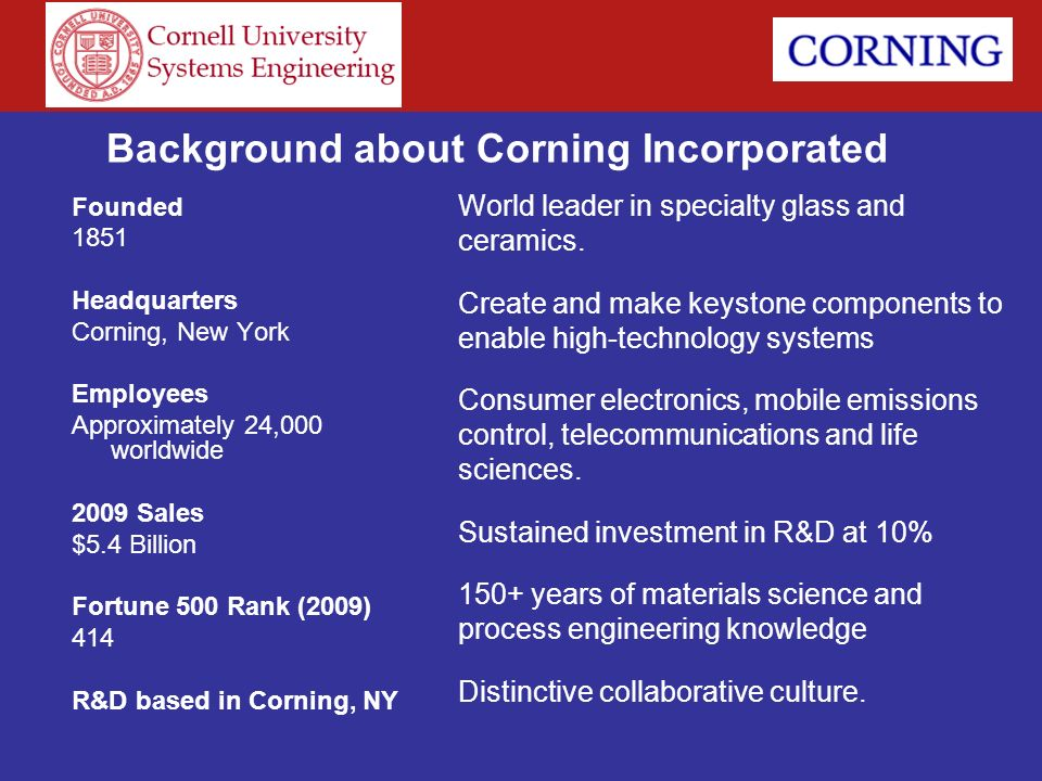Background about Corning Incorporated