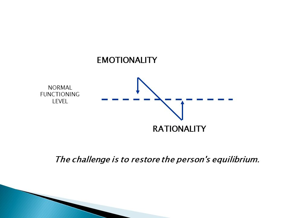 The challenge is to restore the person s equilibrium.