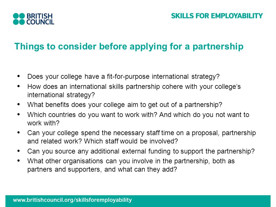 Things to consider before applying for a partnership