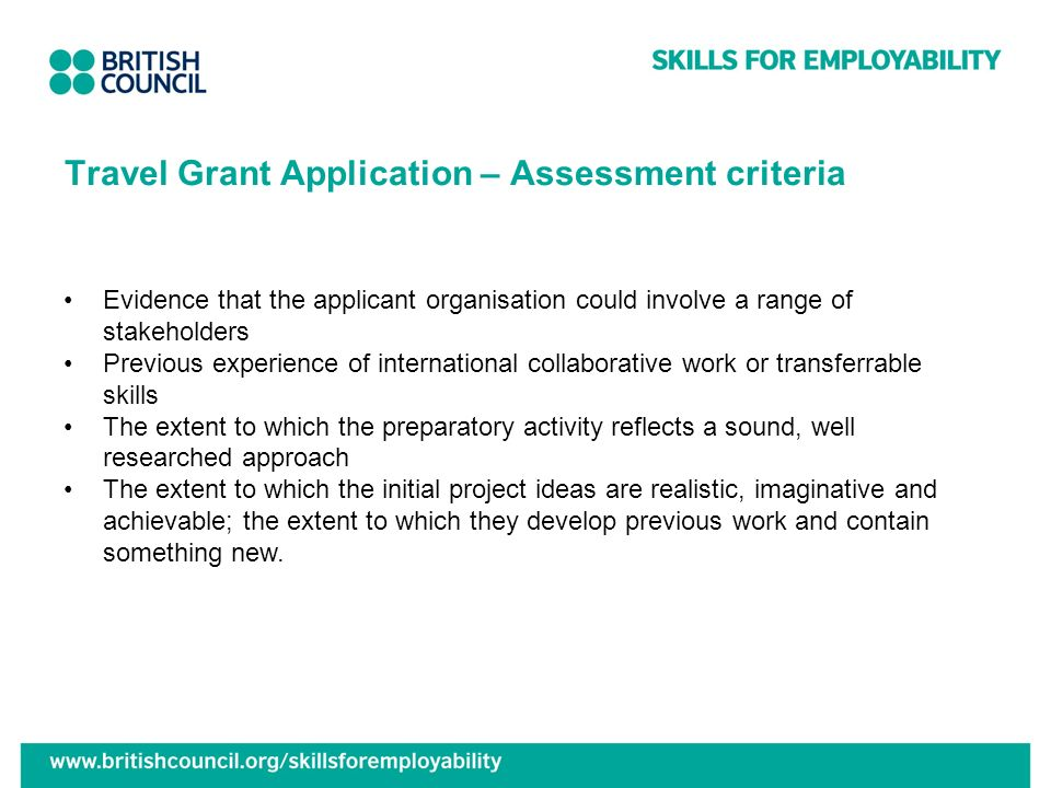 Travel Grant Application – Assessment criteria