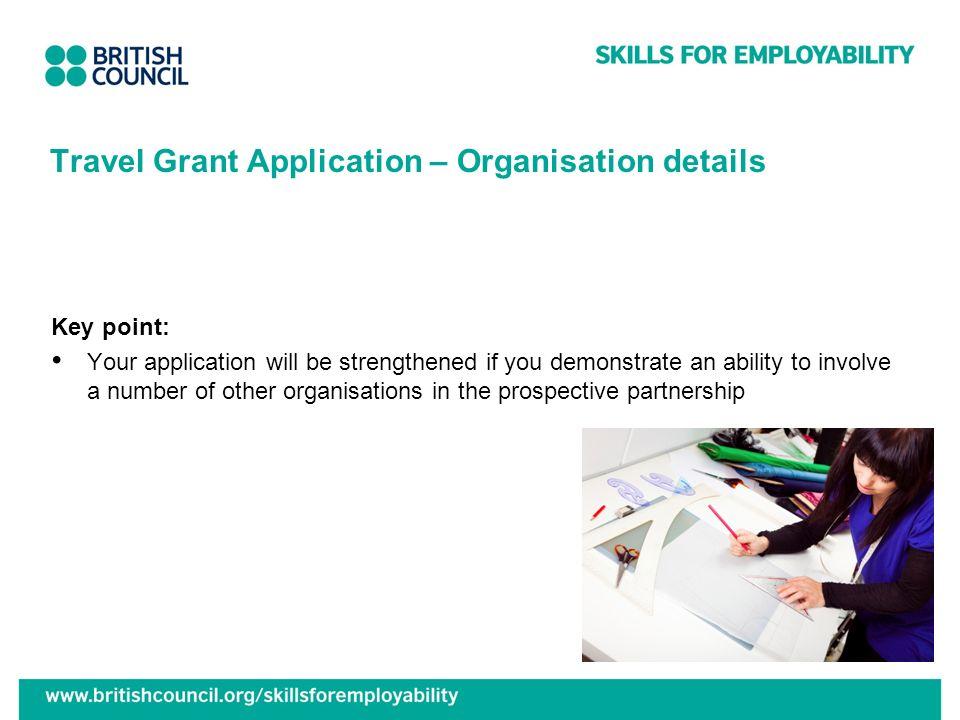 Travel Grant Application – Organisation details