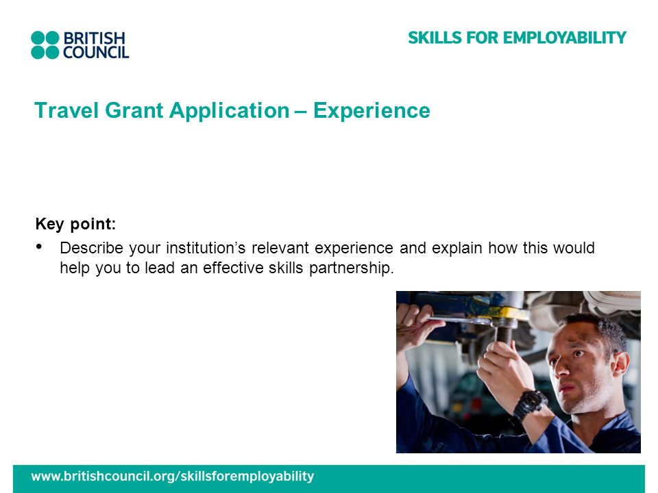 Travel Grant Application – Experience