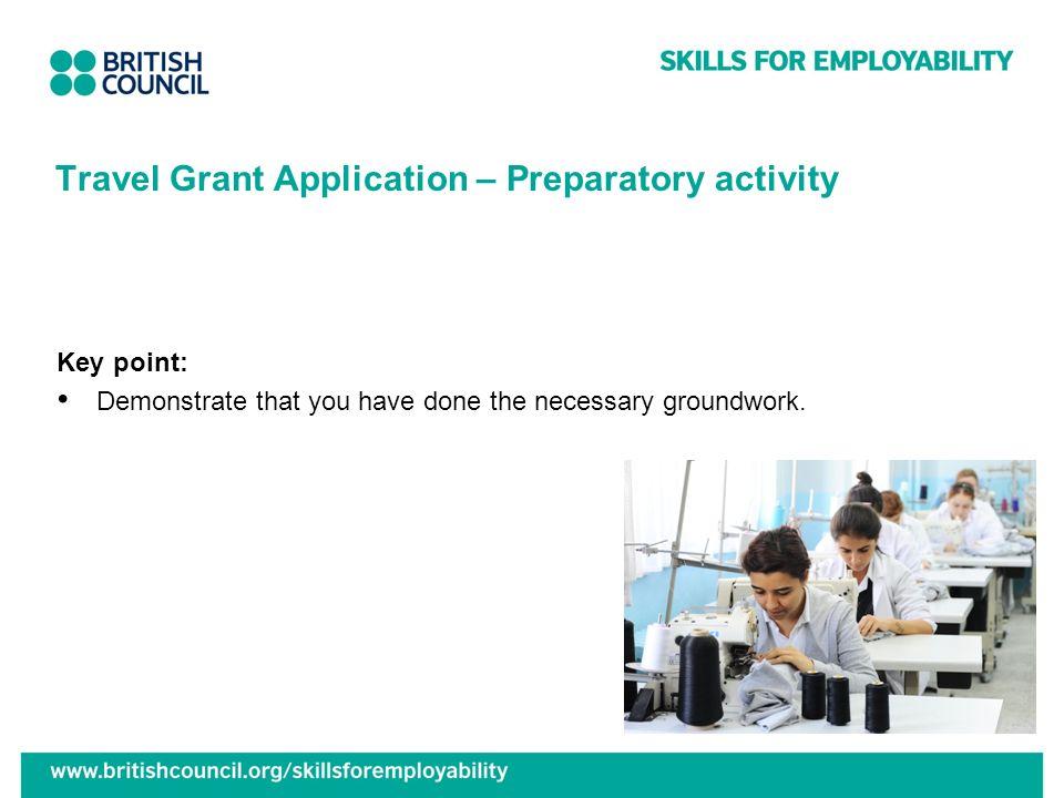 Travel Grant Application – Preparatory activity