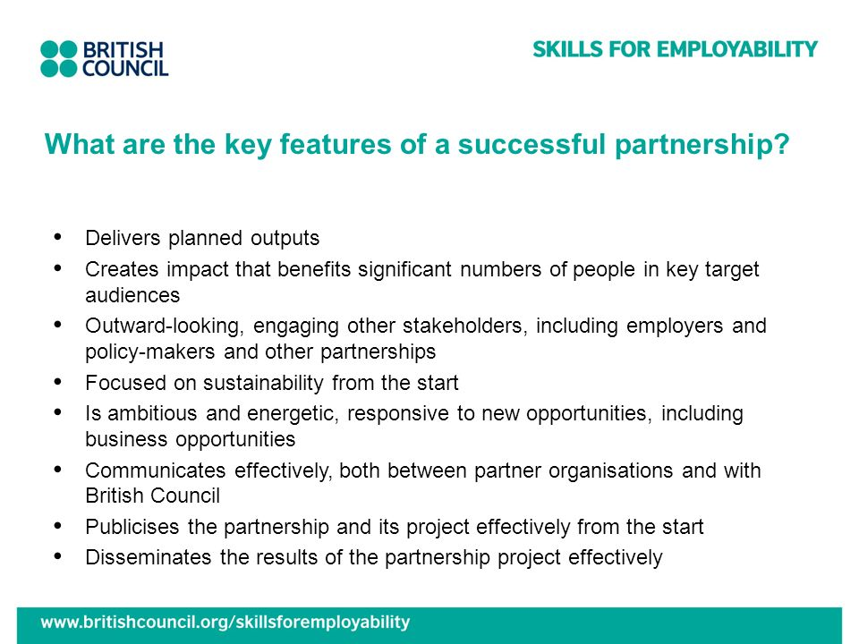 What are the key features of a successful partnership