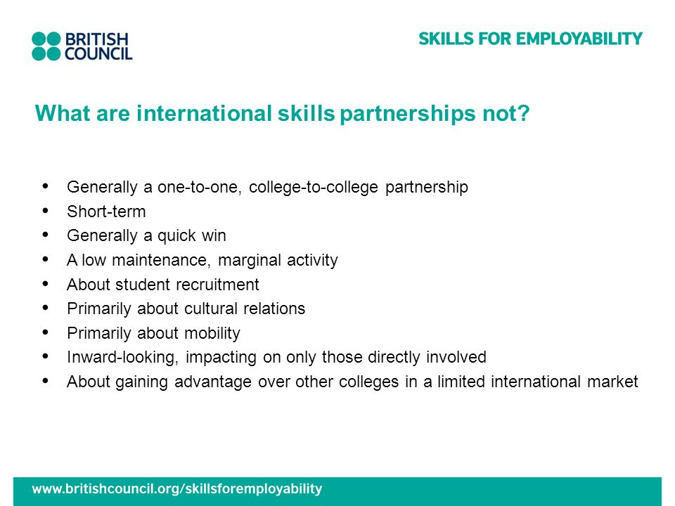 What are international skills partnerships not