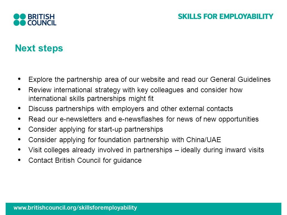 Next steps Explore the partnership area of our website and read our General Guidelines.