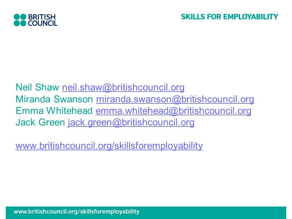 Neil Shaw neil. shaw@britishcouncil. org Miranda Swanson miranda