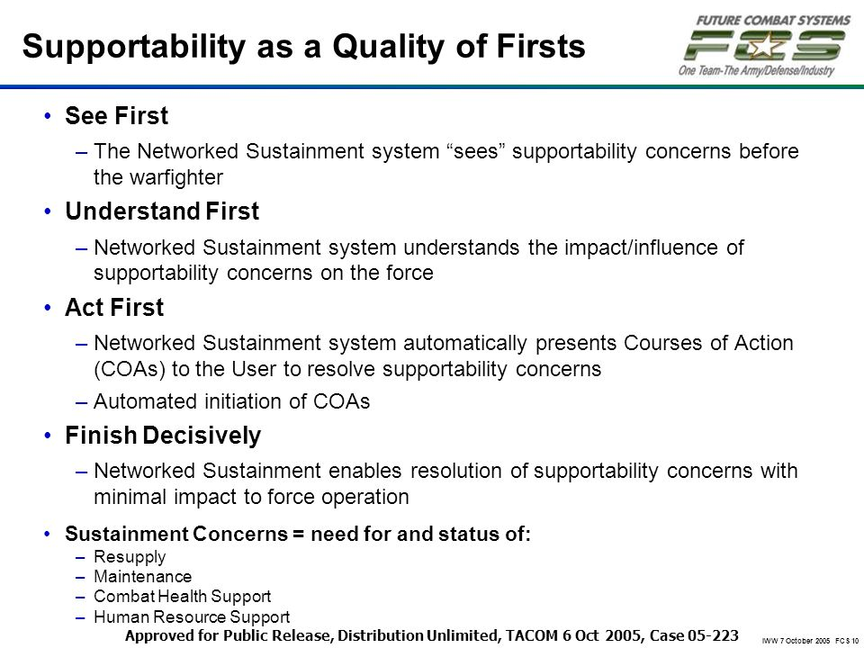 Supportability as a Quality of Firsts