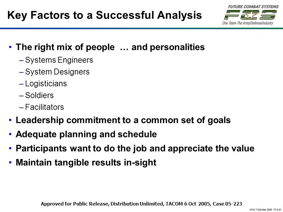 Key Factors to a Successful Analysis