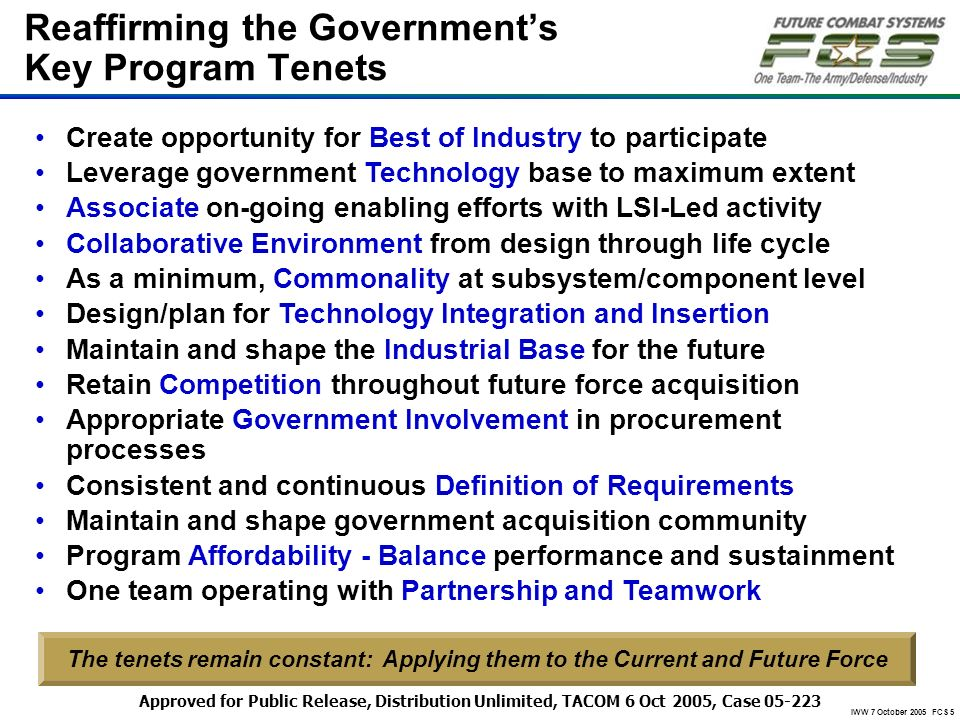 Reaffirming the Government's Key Program Tenets