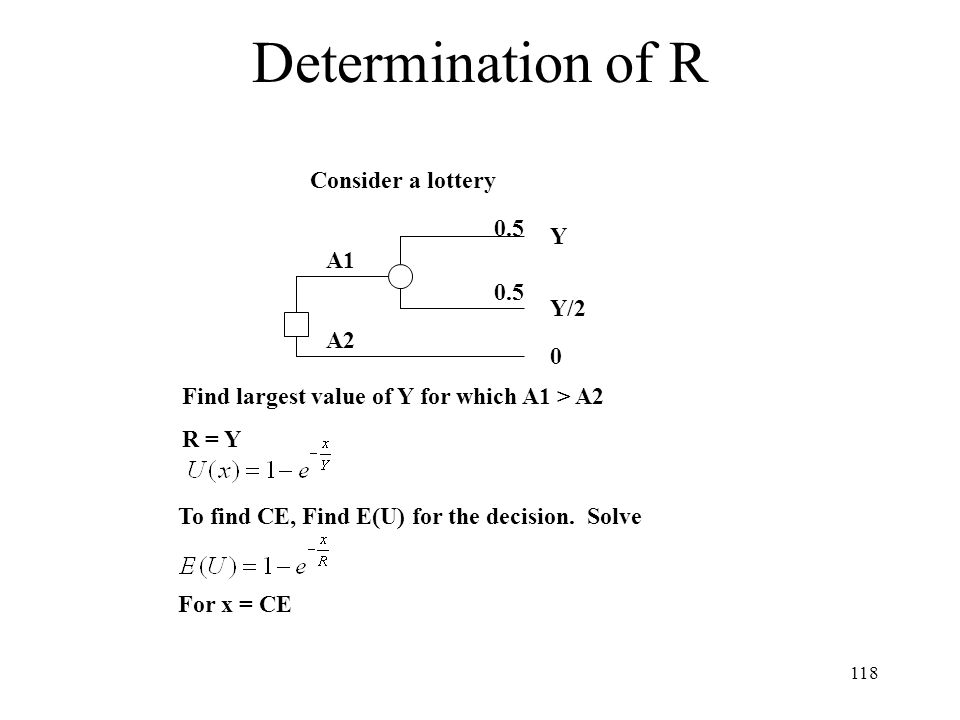 Determination of R Consider a lottery 0.5 Y A1 0.5 Y/2 A2