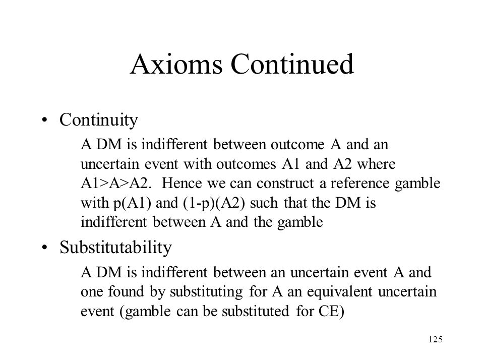 Axioms Continued Continuity Substitutability