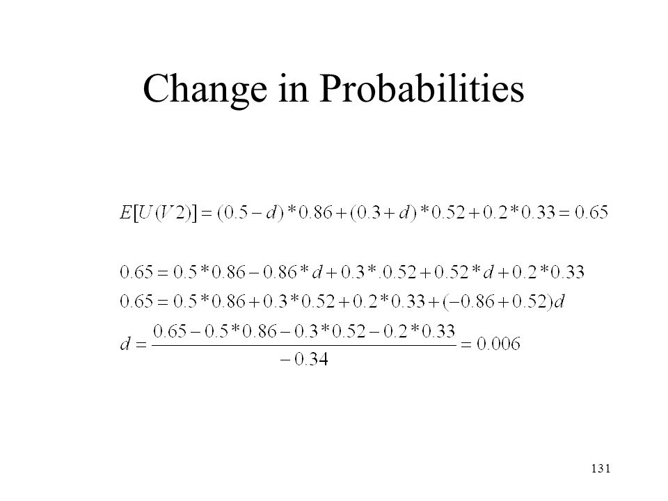 Change in Probabilities